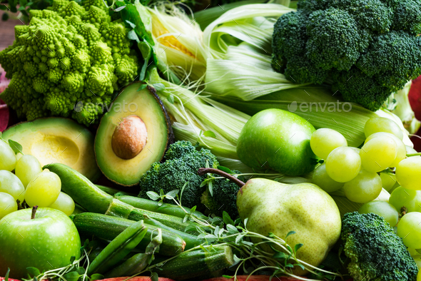 Fresh Raw Autumn Green Vegetables and Fruits - Stock Photo - Images