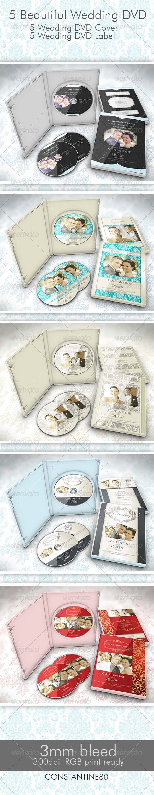 5 Wedding DVD - CD & DVD Artwork Print Templates