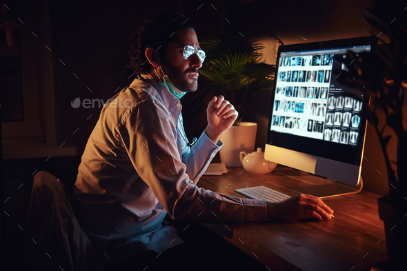 Young medic is working on night shift - Stock Photo - Images