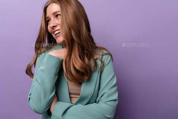 Positive woman posing indoors isolated - Stock Photo - Images