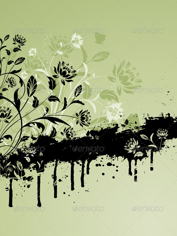 Floral grunge background - Backgrounds Decorative