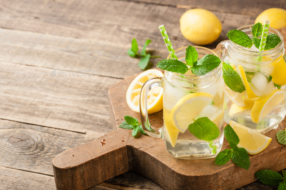 Fresh lemon drink with ice and mint - Stock Photo - Images