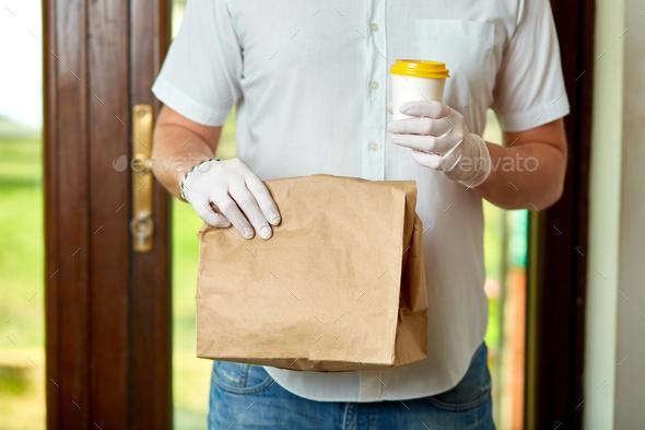 Delivery service under quarantine, disease outbreak, coronavirus - Stock Photo - Images