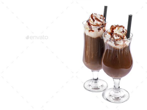 Ice coffee on white background - Stock Photo - Images