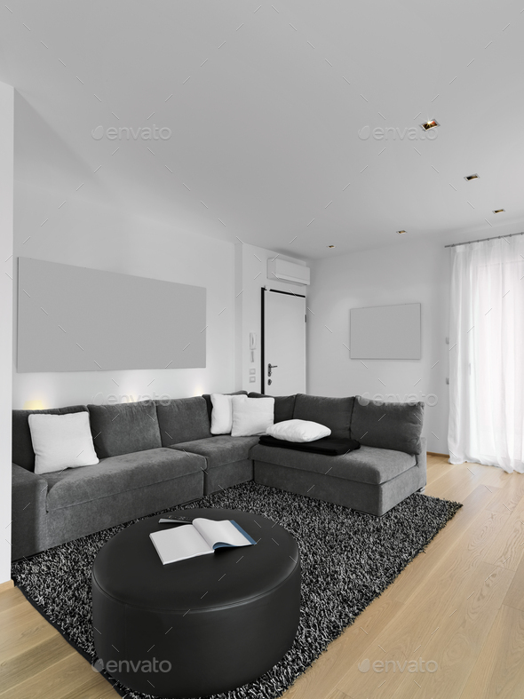 Interiors of a Modern Living Room with Wooden Floor - Stock Photo - Images