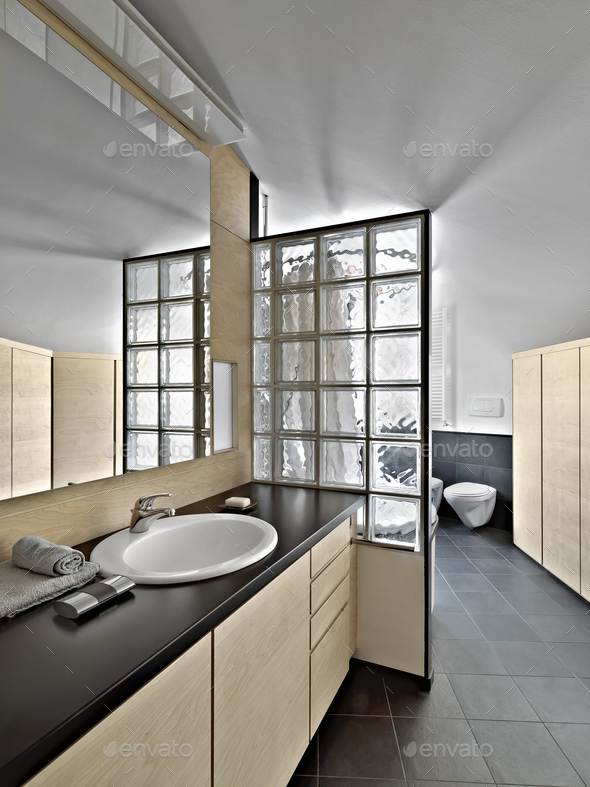 Interiors of a Modern Bathroom in the Attic - Stock Photo - Images