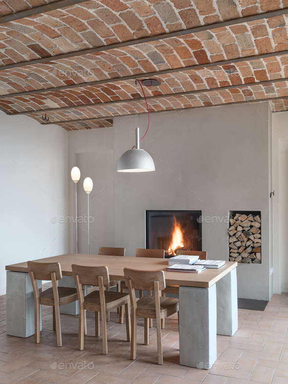 Modern Dining Room with a Fireplace - Stock Photo - Images