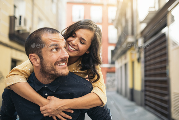 Smiling couple of lovers having fun. - Stock Photo - Images