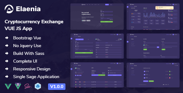 Elaenia - Cryptocurrency Exchange Dashboard VUE JS App + Landing page