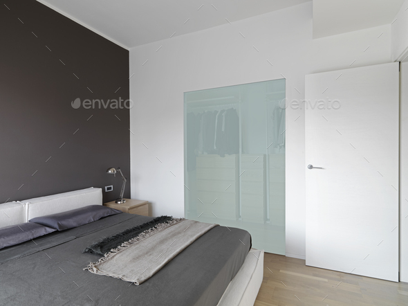 Interiors of a Modern Bedroom - Stock Photo - Images