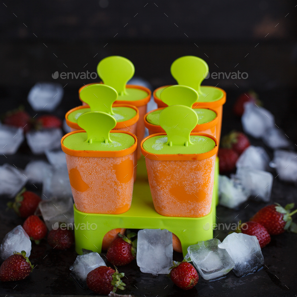 Molds for plastic ice cream on a stick, - Stock Photo - Images