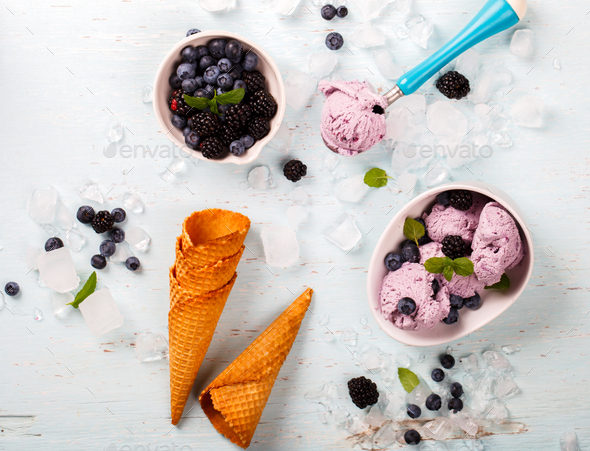 Ice cream of Berries,Blueberries,blackberries with mint in a  waffle cone - Stock Photo - Images