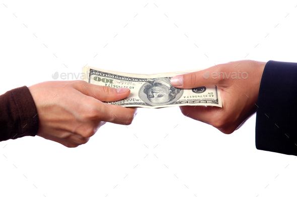 Hands giving money isolated on white background - Stock Photo - Images