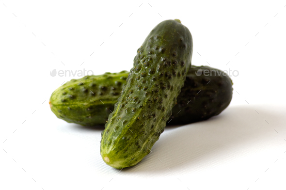 Cucumbers on the white background - Stock Photo - Images