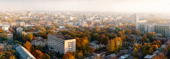 Aerial view smog over a provincial European city - Stock Photo - Images