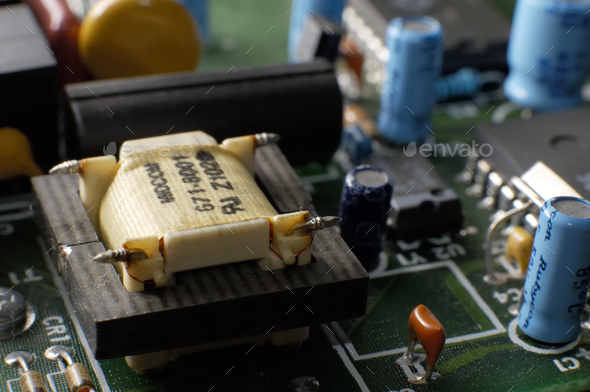 Close up green modem board with transfotmer - Stock Photo - Images
