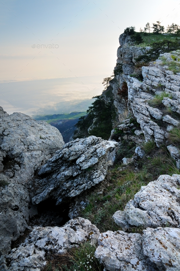 Photo from top of mountain, beautiful horizon - Stock Photo - Images
