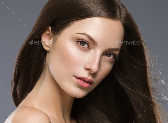 Beautiful hair woman long brunette hair beuty skin make up - Stock Photo - Images