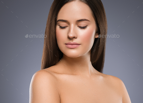 Beauty face woman young beautiful girl Gorgeous female portrait brown hair. Young adult girl - Stock Photo - Images