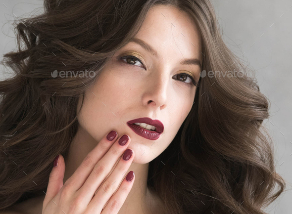 Beautiful hairstyle woman beauty hair fashion makeup red lipstick - Stock Photo - Images