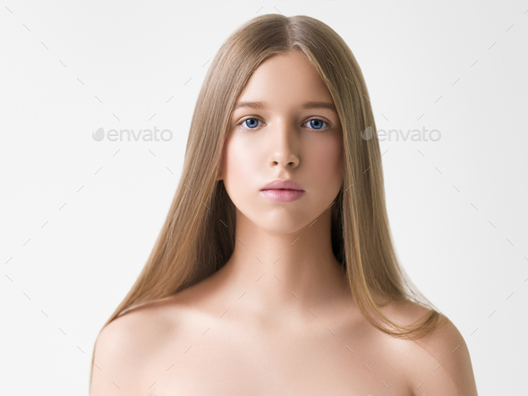 Long smooth hair clean skin girl healthy skin care natural makeup female portrait isolated on white - Stock Photo - Images
