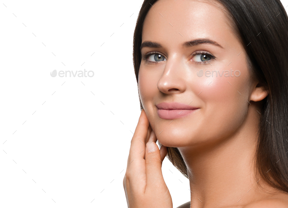 Beauty skin woman face healthy skin beautiful model close up face. Isolated on white. - Stock Photo - Images