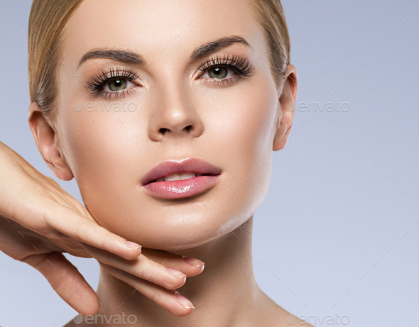 Close up hands woman portrait with perfect hair and make-up blonde - Stock Photo - Images