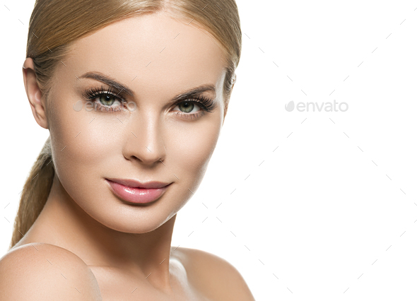 Healthy skin female girl blonde hair portrait. Isolated on white. - Stock Photo - Images