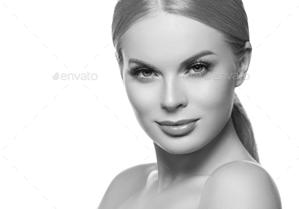Healthy skin female girl blonde hair portrait color background. Monochrome. Gray. Black and white. - Stock Photo - Images