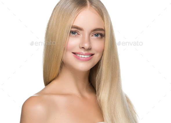 Blonde hair woman natural skin female beauty healthy teeth smile - Stock Photo - Images