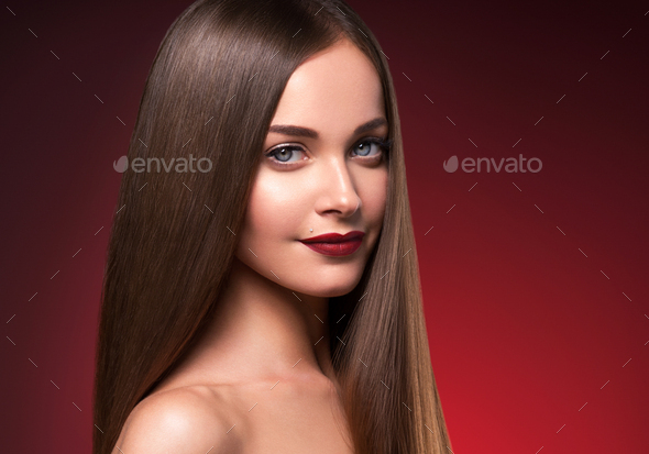Beautiful hair woman long smooth brunette hairstyle beauty healthy hair female model portrait - Stock Photo - Images