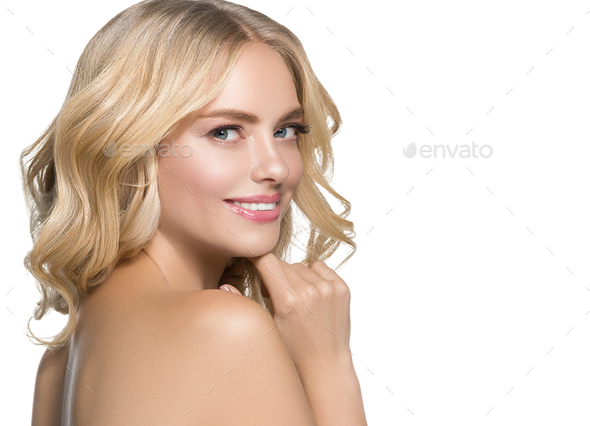 Long curly blonde hair woman with healthy skin and natural makeup isolated on white - Stock Photo - Images
