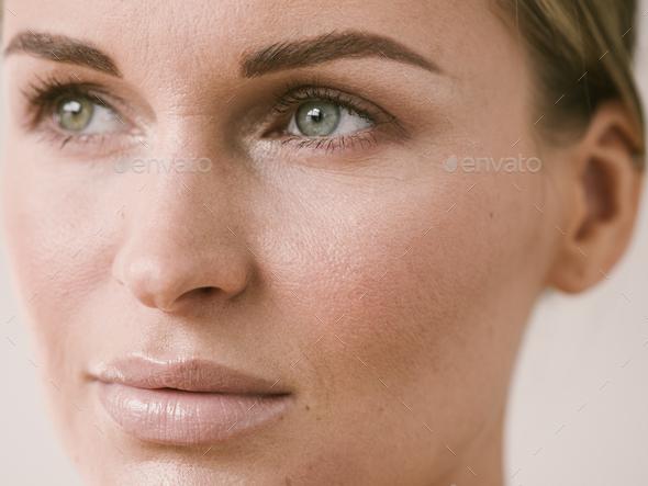 Natural beauty skin woman face close up macro model beauty - Stock Photo - Images