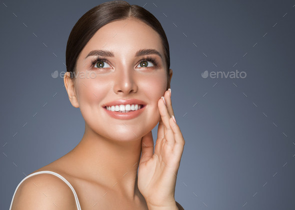 Beauty woman healthy teeth smile healthy beautiful skin model face skin care happy female - Stock Photo - Images