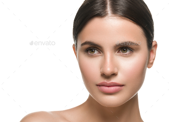 Beauty skin woman face healthy skin beautiful model close up face natural makeup brunette hair - Stock Photo - Images