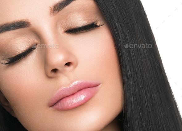 Woman healthy skin lashes extension  beauty natural makeup cosmetic age concept. Isolated on white. - Stock Photo - Images
