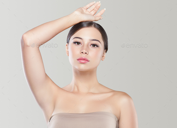 Armpit woman healthy skin depilation concept woman hand up. Color bakcground. - Stock Photo - Images