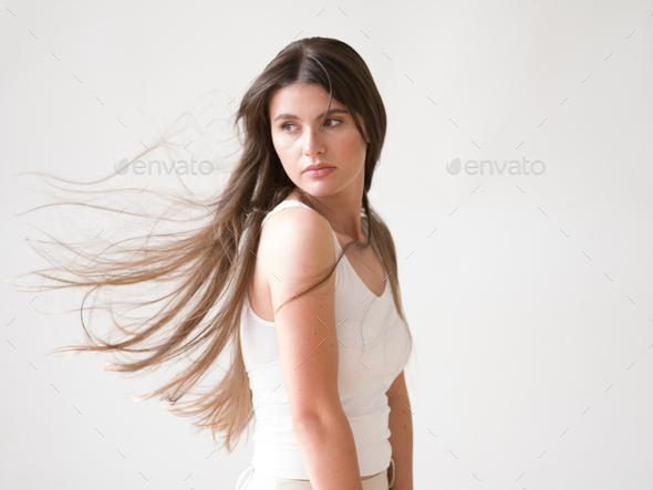 Woman casual portrait brunette female long hair natural make up - Stock Photo - Images