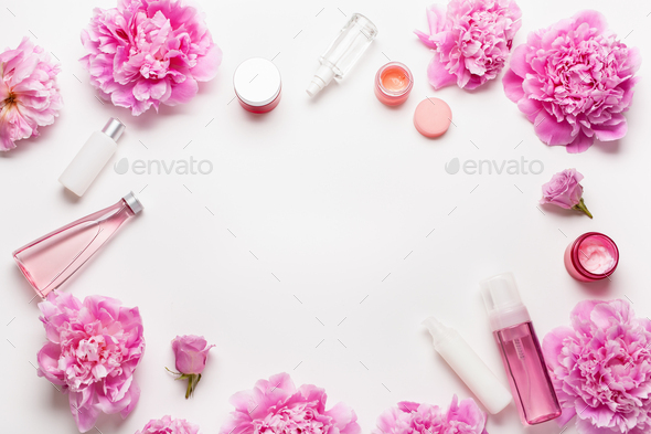 bath and spa flat lay, peony flowers skin care products - Stock Photo - Images