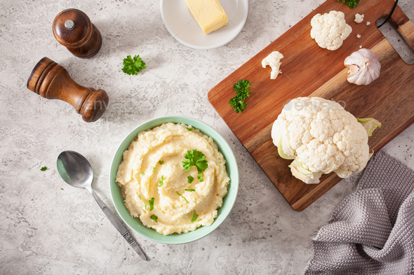 mashed cauliflower with butter. ketogenic paleo diet side dish - Stock Photo - Images