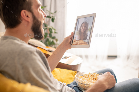 Spending leisure with girlfriend online - Stock Photo - Images