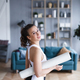 Portrait of a young fit woman with white yoga mat at home close-up. - PhotoDune Item for Sale