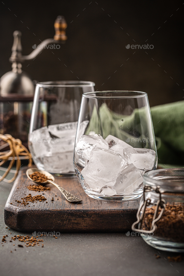 Dalgona coffee in glass cup - Stock Photo - Images