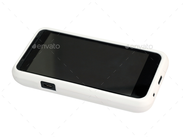 Mobile Phone In A White Cover With A Blank Screen. Isolated On A White Background. - Stock Photo - Images
