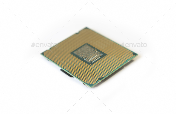 Computer The Processor On A White Background Is Isolated Gold Color With A Microcircuit - Stock Photo - Images