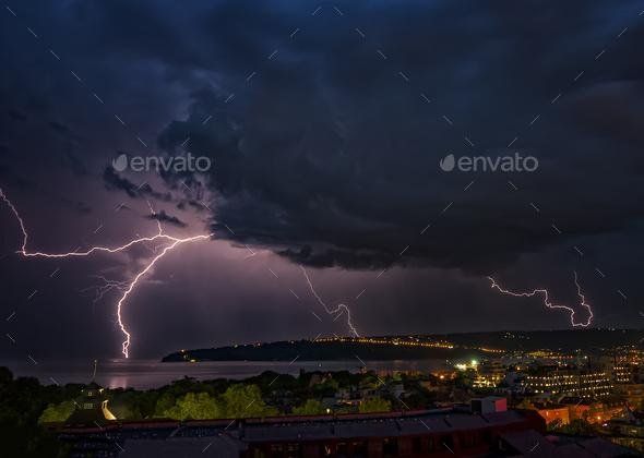 powerful lightning - Stock Photo - Images