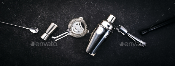 Shaker, jigger, strainer, spoon, tongs, muddler. Alcohol drink and beverages preparation concept - Stock Photo - Images