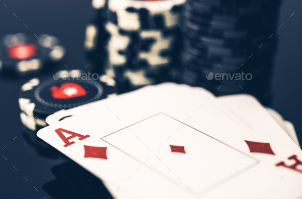 Deck Of Cards With Ace On Top And Stack Of Poker Chips. - Stock Photo - Images