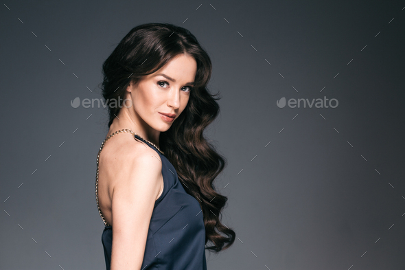 Beautiful woman with long hair, shine and curly, beauty girl - Stock Photo - Images
