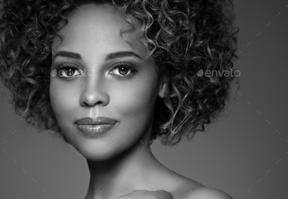 African american woman hair skin beauty. Monochrome. Gray. Black and white. - Stock Photo - Images